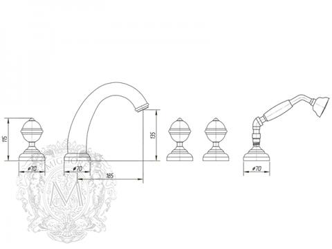 Смеситель для ванны на 5 отв. Migliore Cristalia Swarovski ML.CRS-3780 схема