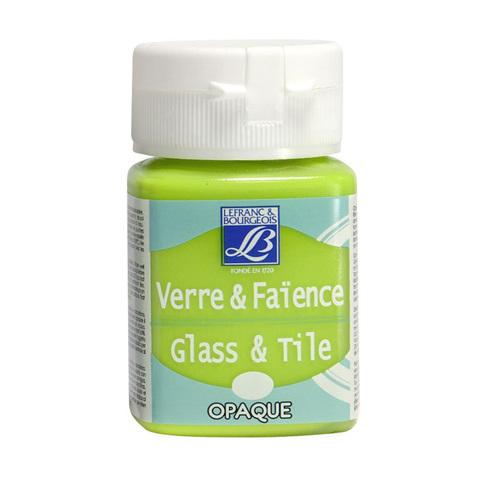 Краска по стеклу и керамике Lefranc&Bourgeois Glass&Tile 50 мл Непрозрачная 444, зеленый анис