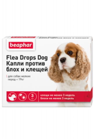 Beaphar flea and tick drops for small breed dogs (up to 19 kg)