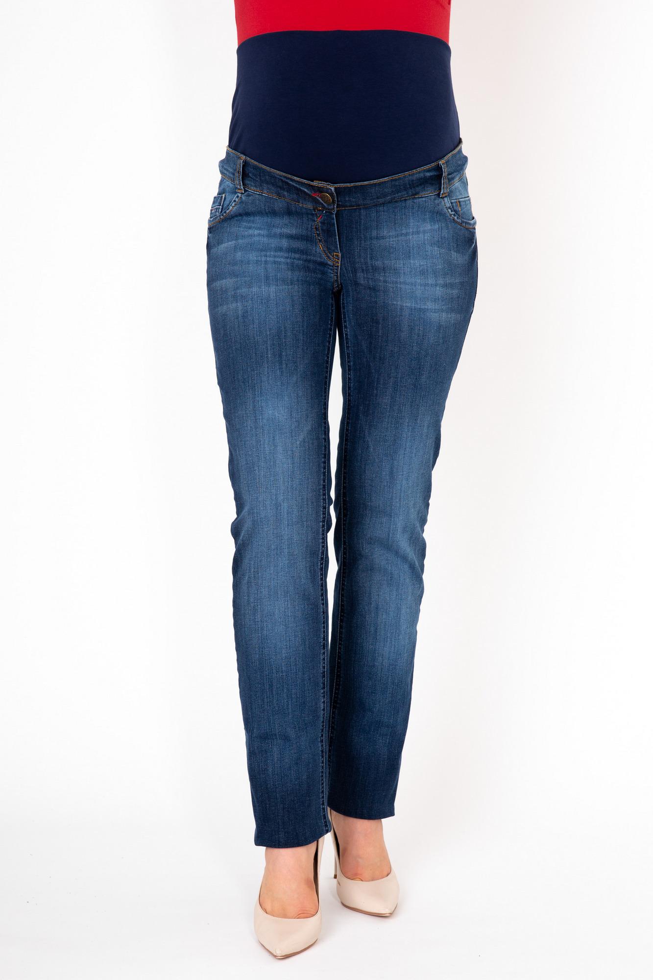Фото джинсы для беременных MAMA`S FANTASY, из стрейчевого денима, средняя посадка, элементы потертости от магазина СкороМама, синий, размеры.
