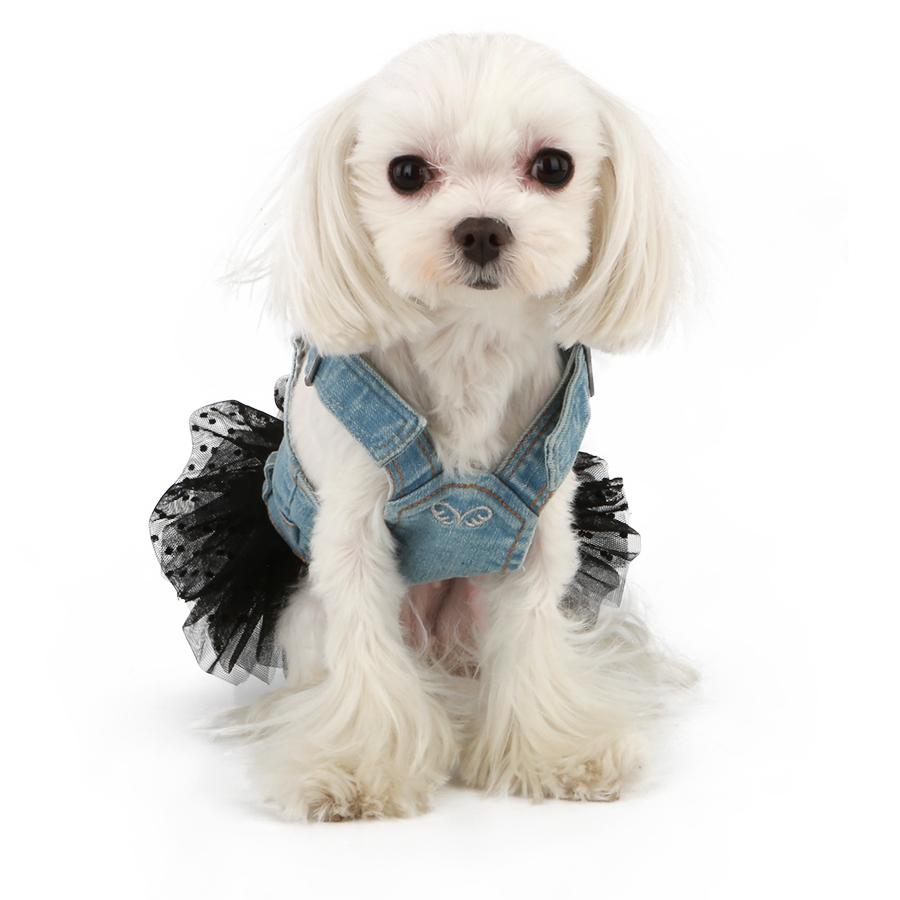 282 PA - Джинсовый сарафан для собак с фатиновой юбкой