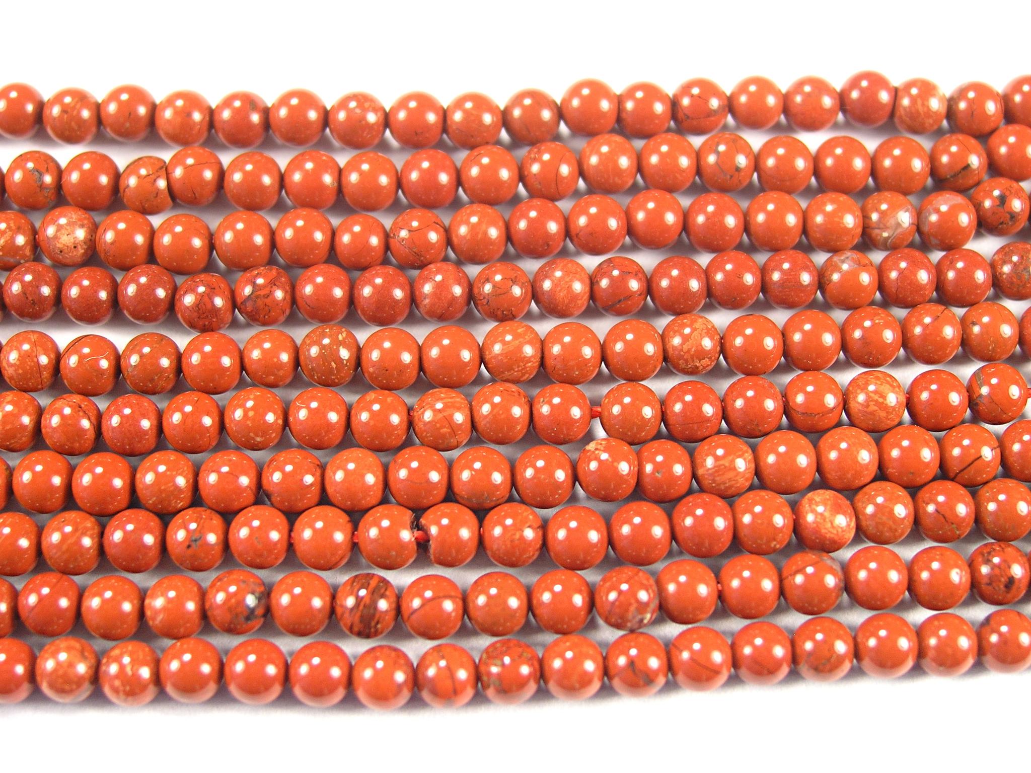 Нить Бисера из яшмы красной, шар гладкий 3мм