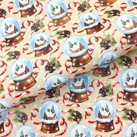 Бумага подарочная упаковочная Снежные шары (Италия)
