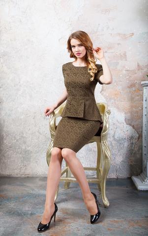 Фото коктейльное жаккардовое платье приталенного силуэта с ассиметричной баской - Платье З247-155 (1)