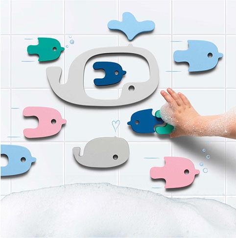 Мягкий 2D пазл для игры в ванне Quutopia. Киты (Whales), 11 эл