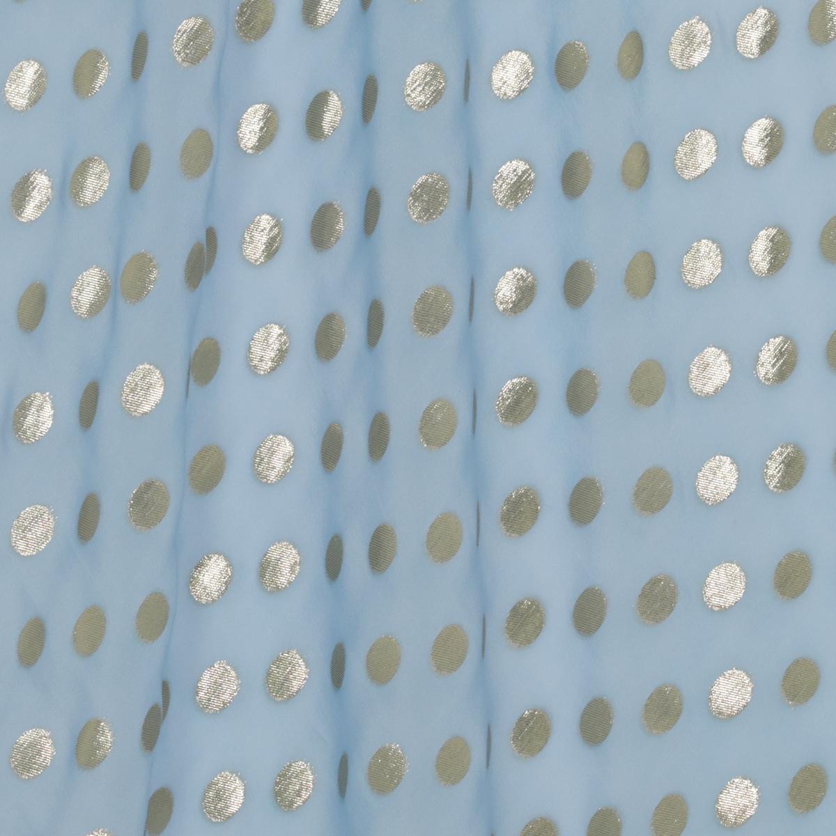 Легкий небесно-голубой шифон с золотистым горохом