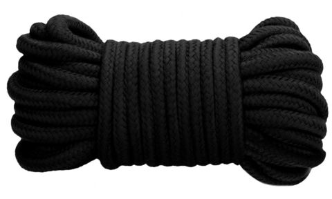 Черная веревка для связывания Thick Bondage Rope -10 м.