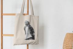 Сумка-шоппер с принтом Нирвана, Курт Кобейн (Nirvana, Kurt Cobain) бежевая 004