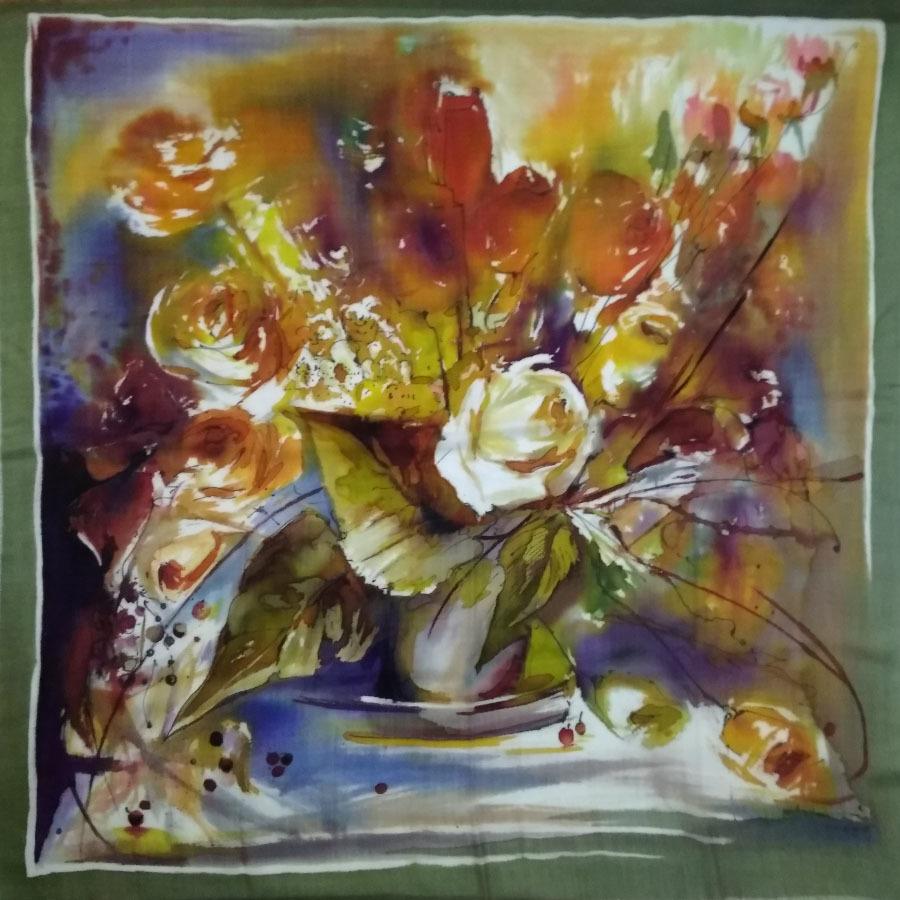 Шерстяной платок батик Осенние розы С-74-sh