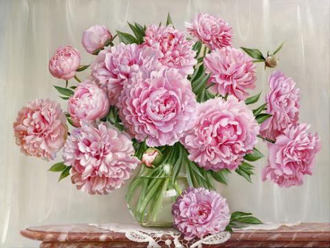 Картина раскраска по номерам 40x50 Розовые пионы в вазе (Без подрамника)