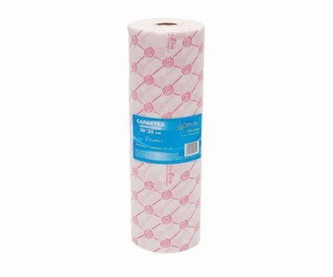 Салфетка одноразовая 30*20 спанлейс розовый ролик 100шт