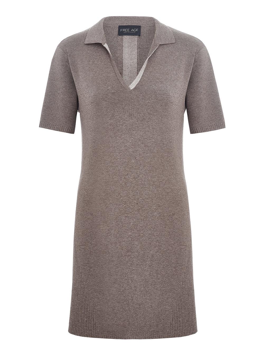 Женское платье темно-кофейного цвета из вискозы - фото 1