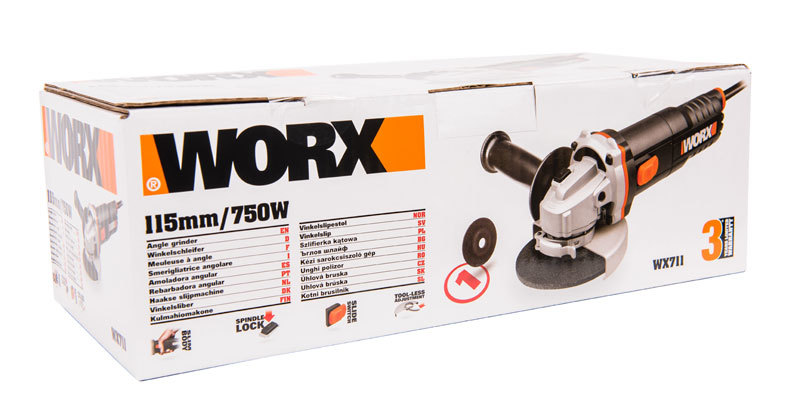 Угловая шлифовальная машина WORX WX711, 750Вт, 115мм, коробка
