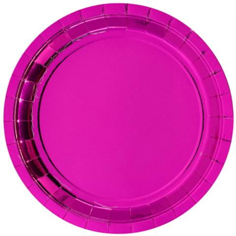Тарелки блестящие ярко-розовые, 23см