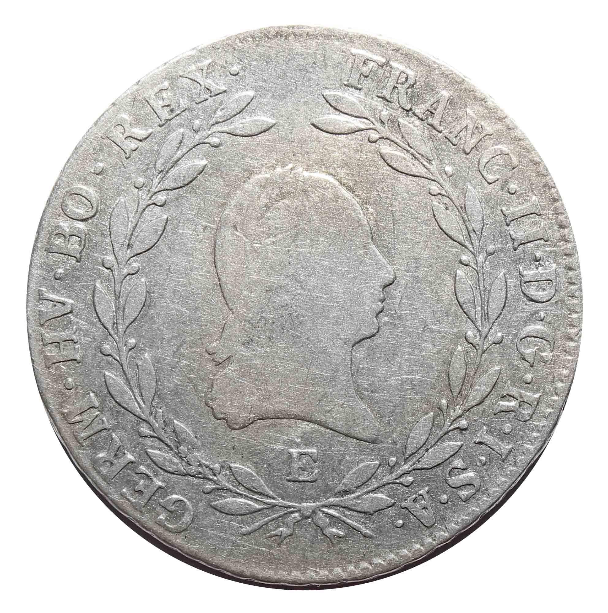 20 крейцеров. Франц II. Е. Австрия. 1804 год. Серебро. F+