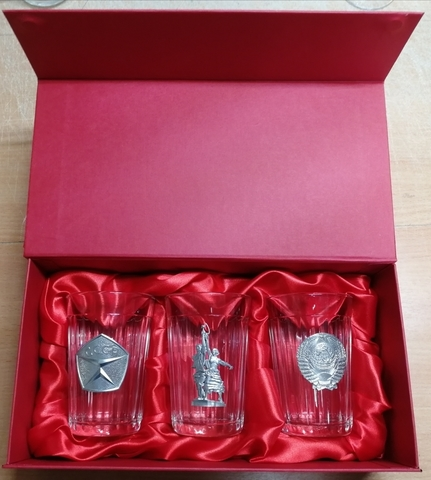 Подарочный набор из 3 граненых стаканов «Советские традиции»