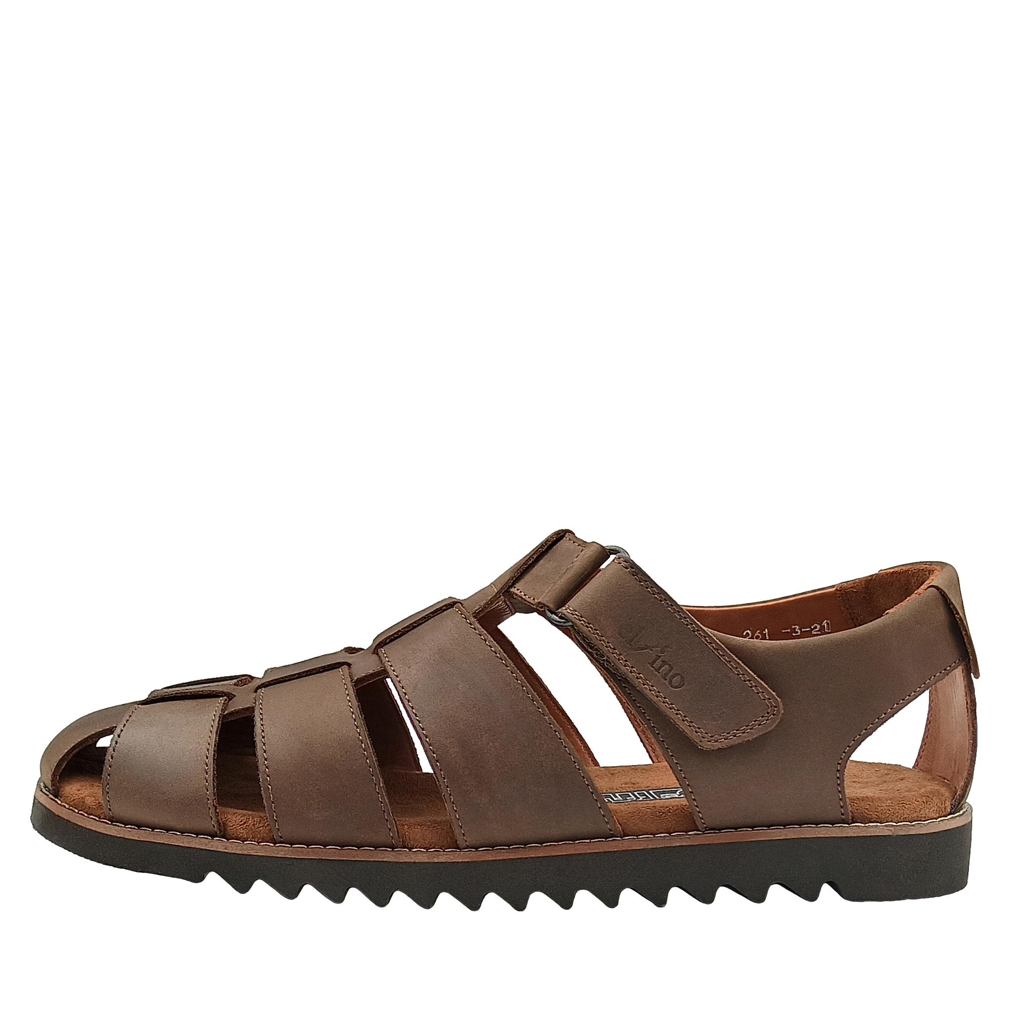 550210 сандалии мужские коричневые больших размеров марки Делфино