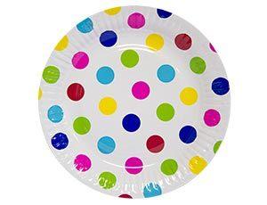 Тарелка бумажная Горошек мульти 23см 6шт