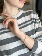Браслет из серебряных бусин и бусин Миуки  оптом и в розницу