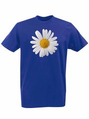 Футболка с принтом Цветы (Ромашки) синяя 002