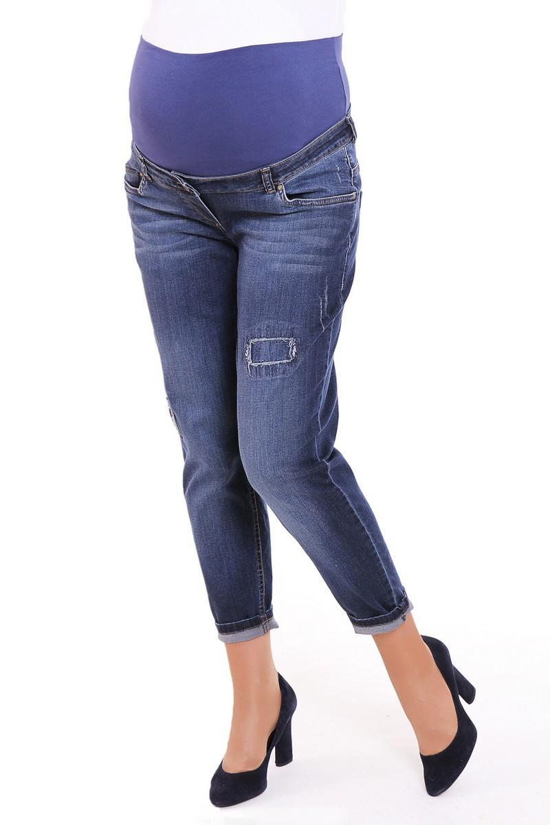 Фото джинсы для беременных MAMA`S FANTASY, потертости, свободные подкатанные брючины, широкий бандаж от магазина СкороМама, синий, размеры.