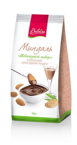 ВИВАЛЬ Миндаль «Шоколадный ликер» в молочной шоколадной глазури 140г