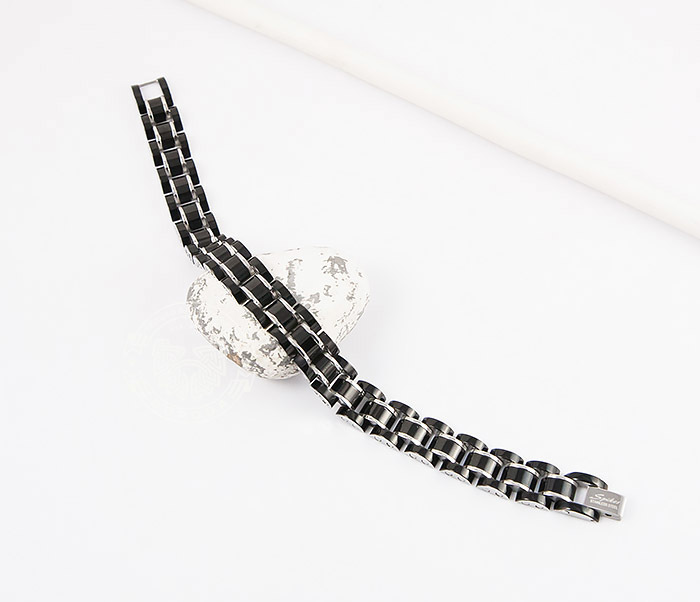 SSBH-2900 Стильный мужской браслет черного цвета из стали, «Spikes» (21 см) фото 02