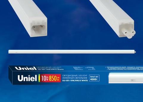 ULI-E01-7W/NW/K WHITE Светильник линейный светодиодный (аналог T5), c выключателем. Белый свет (4000K). 600Лм. Корпус белый. ТМ UNIEL.