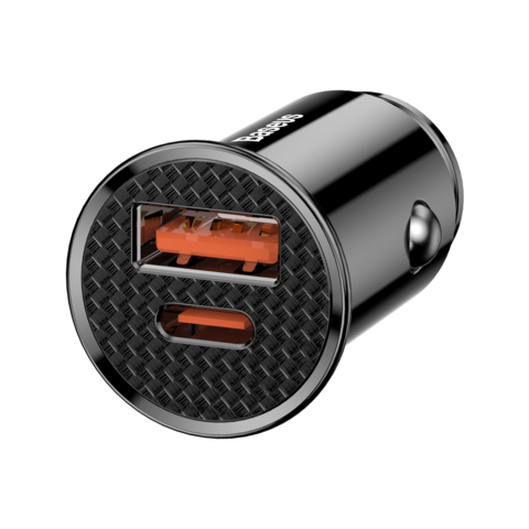 Baseus / Автомобильное зарядное устройство 1USB Circular Plastic + Type-C 30W | черное