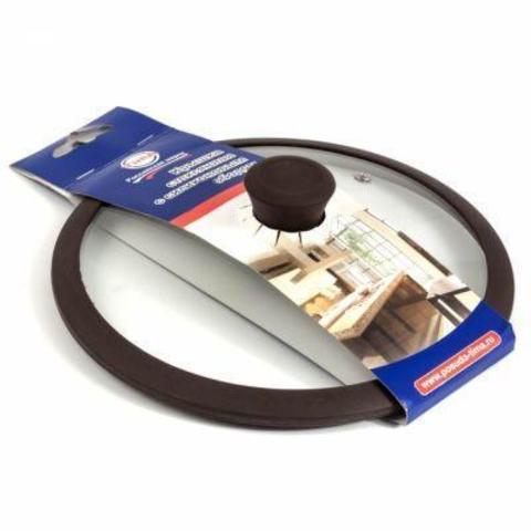Стеклянная крышка с ручкой с силикон/обод 28см коричневая