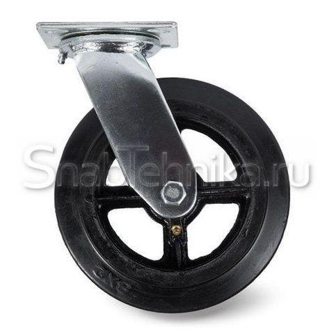 Большегрузная поворотная колесная опора SCd 100 литая черная резина