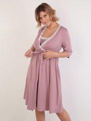 Euromama/Евромама. Комплект для беременных и кормящих с коротким рукавом и кружевом вискоза, пудра вид 2