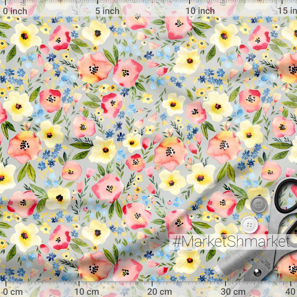 Разноцветные цветы на сером