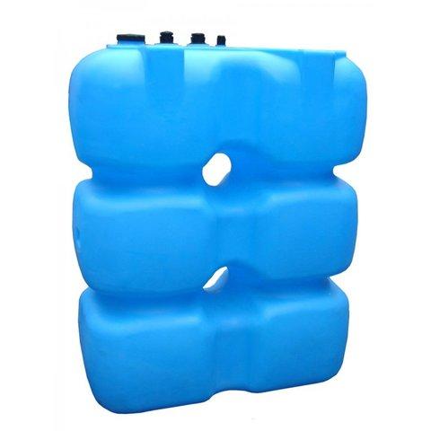 Танк 1500л с фланцем и крышкой с клапанами, со сливом д/воды, (Синий), (1500 х 750 х 1700 мм), [Т1500ФК2З]