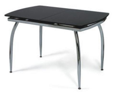 Кухонный раздвижной стол Мартини (со стеклом на хроимрованных ножках)