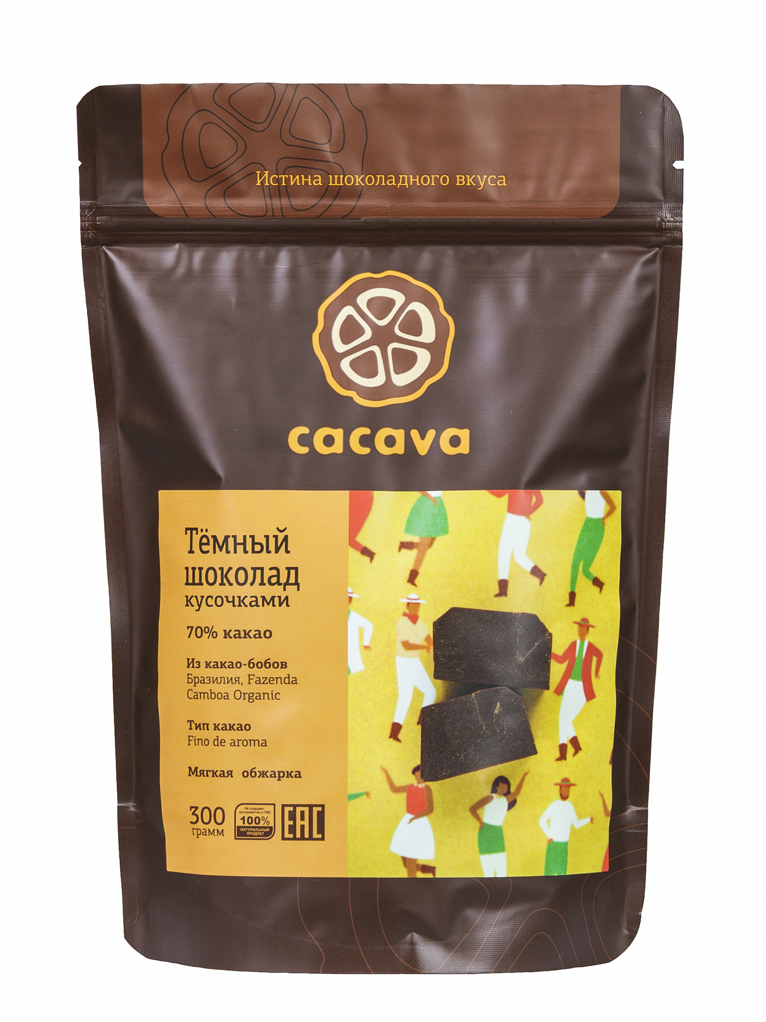 Тёмный шоколад 70 % какао (Бразилия, Fazenda Camboa), упаковка 300 грамм
