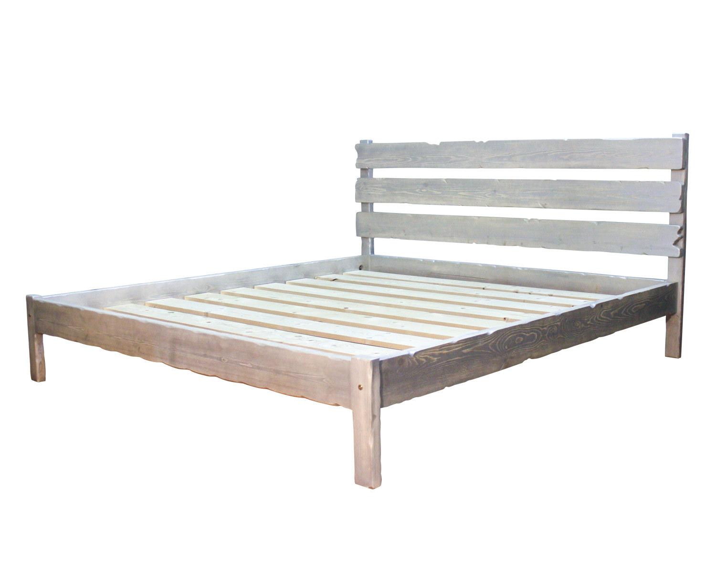 Кровать Деревенская, белёная + патина серебро