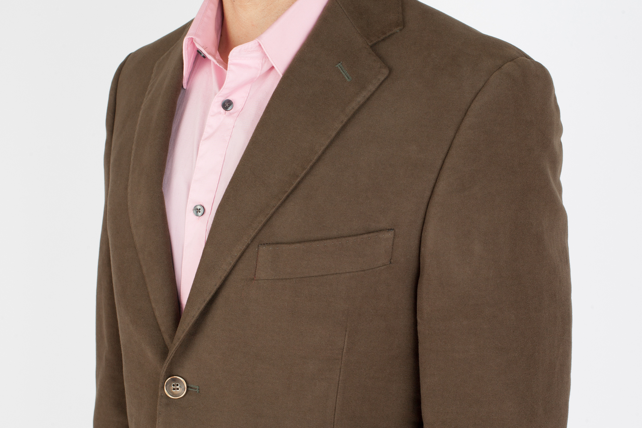 Зелёный (и коричневый) блейзер из 100%-ной шерсти, нагрудный карман
