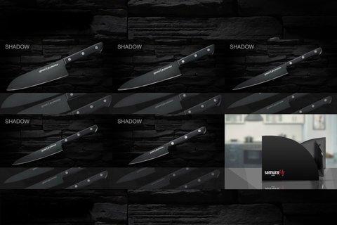 Набор из 5 кухонных ножей Samura Shadow и магнитной подставки