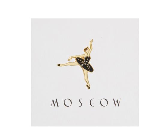 Значок металлический Балерина в черном