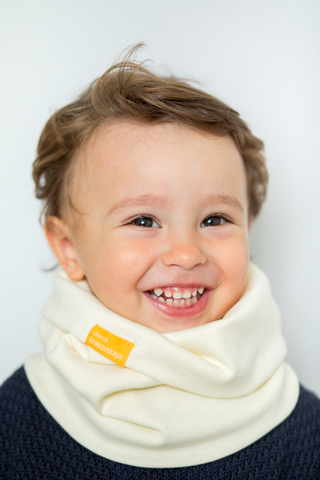 детский снуд-горловинка из хлопка гладкий молочный