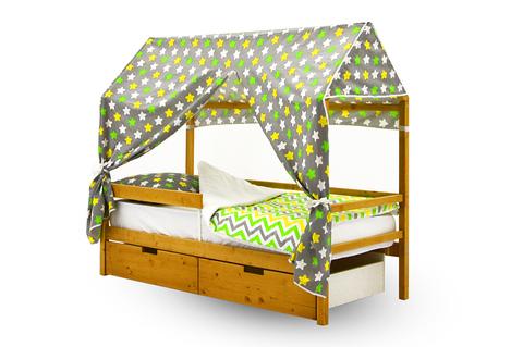 """Крыша текстильная для кровати-домика Svogen """"звезды, желтый, зеленый, белый, фон графит"""""""