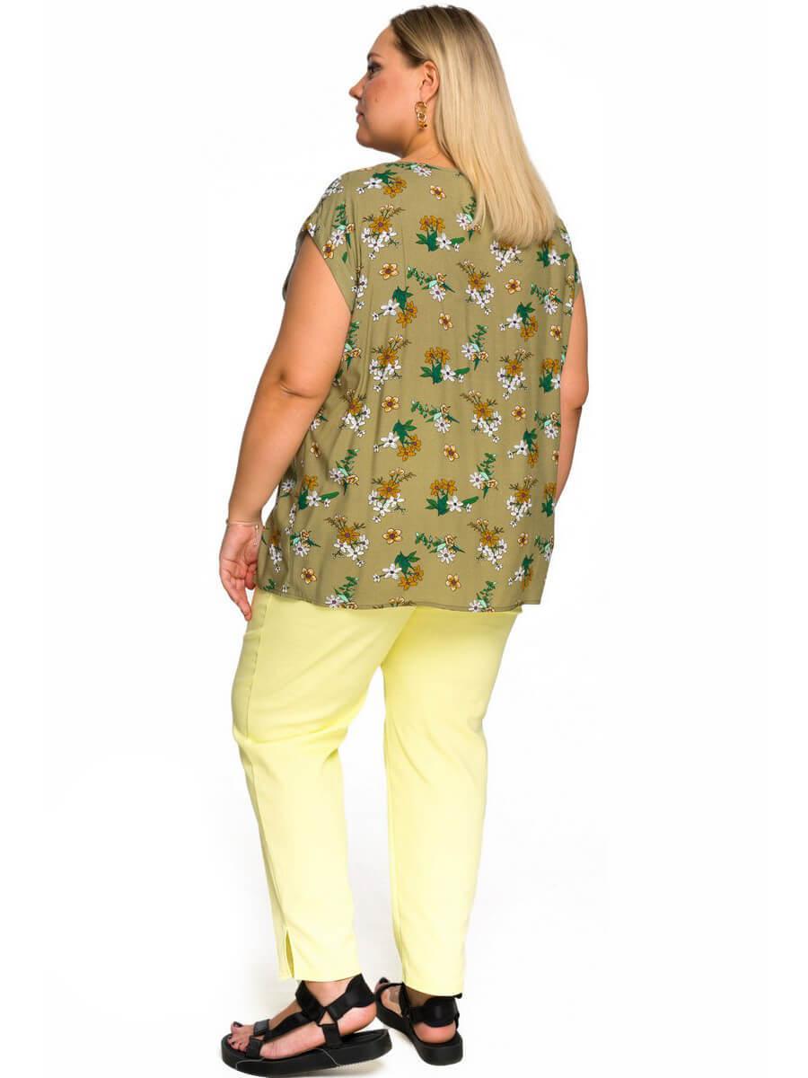 Блуза со спущенным плечом, оливковый штапель