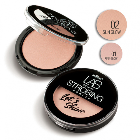 Пудра-стробинг Let`s Shine LAB colour тон 02 pink glow, Bielita, 10 г