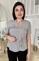 Джемма. Блуза великих розмірів з пояском, короткий рукав. Сірий