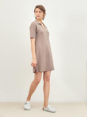 Женское платье темно-кофейного цвета из вискозы - фото 2
