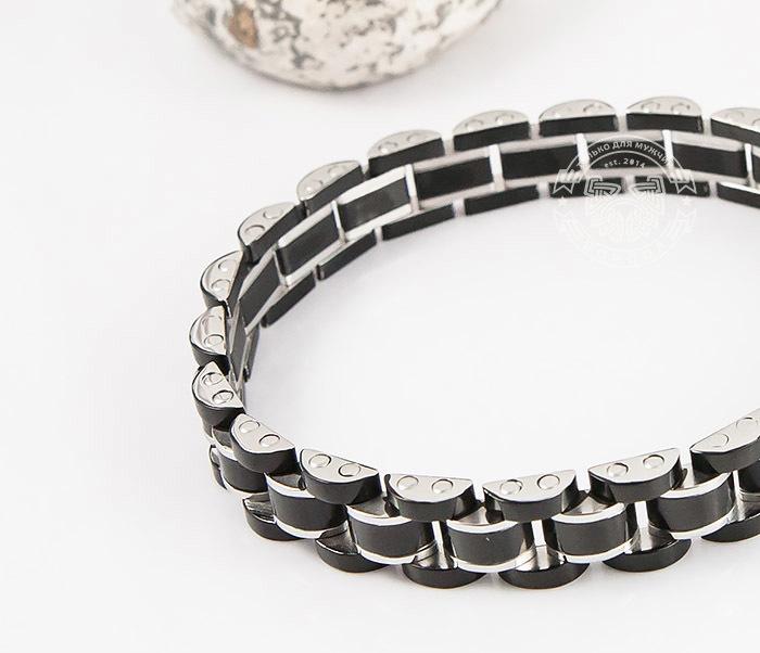 SSBH-2900 Стильный мужской браслет черного цвета из стали, «Spikes» (21 см) фото 06