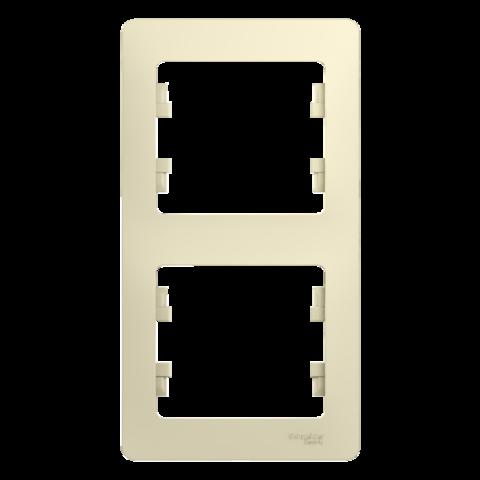 Рамка на 2 поста, вертикальная. Цвет Бежевый. Schneider Electric Glossa. GSL000206