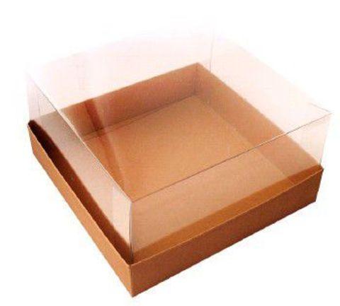 Картонная коробка с крышкой 240*240*110 для торта до 2 кг прозрач