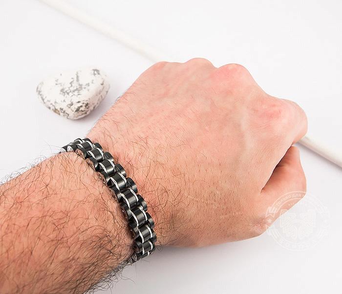 SSBH-2900 Стильный мужской браслет черного цвета из стали, «Spikes» (21 см) фото 07